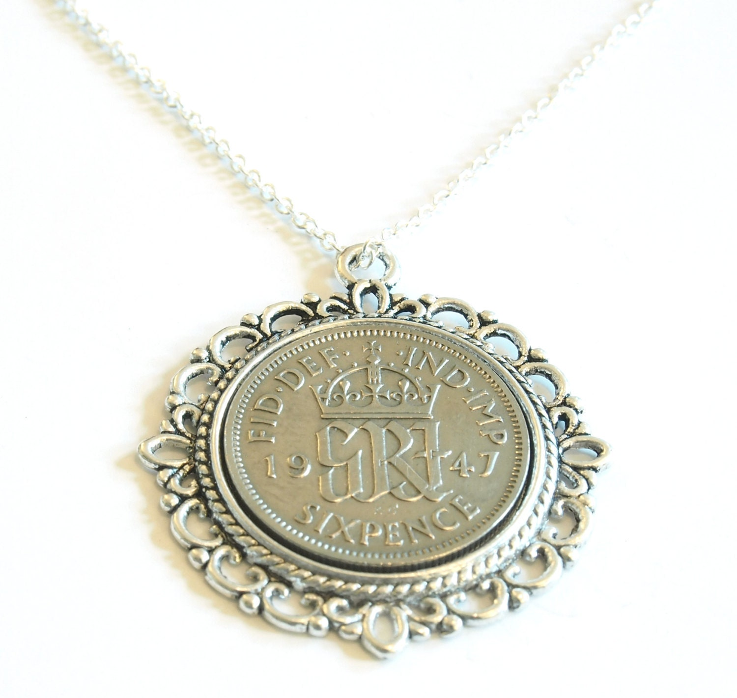 1947 Birthday Gift Lucky Sixpence Necklace 1947 Jewelry