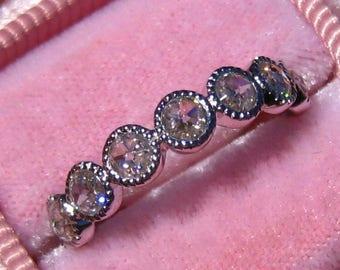 Double Sided Rose Cut Moissanite in White Gold Milgrain Bezel Wedding Band, Moissanite Wedding Band, Moissanite Engagement Ring
