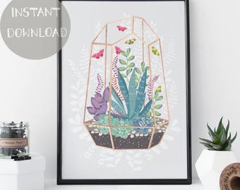 Printable Plant Art, Botanical Succulent Print
