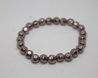 Gold Faceted Bead Stretch Bracelet