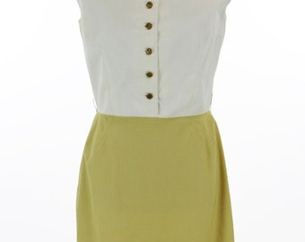 Vintage 1960s Ivory and Mustard Yellow California Girl Dress Size M