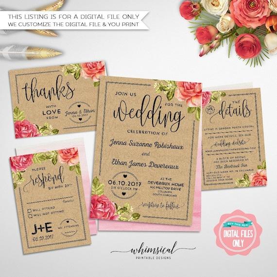 Wedding invitation kraft informal printable file only wedding il570xn stopboris Image collections