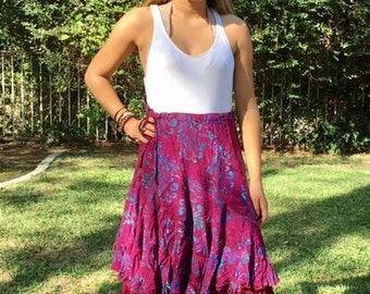 Purple rayon skirt,double layers, large, L, purple, turquoise,skirt