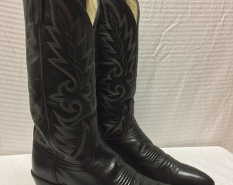 Dan Post Black Leather Boots, Western Boots, Womens, 8, size 8