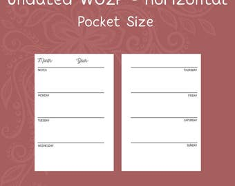 Undated Week on Two Page Pocket Size Planner Inserts [DIGITAL]