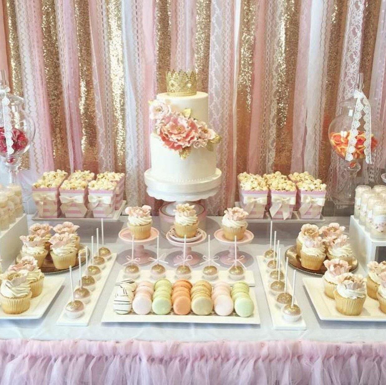 Blush Pink Amp Gold Garland Backdrop Birthday Baby Shower