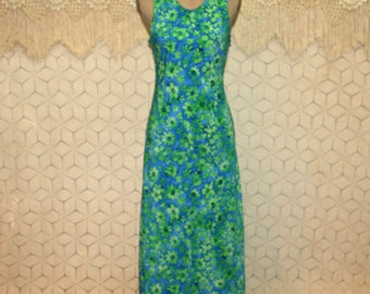 90s Boho Maxi Dress Sleeveless Long Summer Dress Small Floral Print Dress Blue Green Boho Clothing 1990s Vintage Clothing Womens Clothing