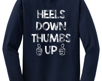 Heels Down Thumbs Up Long Sleeve Horse Shirt, Unisex Navy Blue Tee, Trainer Gift Equestrian Clothing Equitation for Men or Women