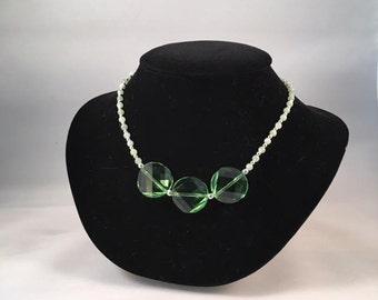 "Swarovski Crystal, Jade and Sterling Silver 18"" Necklace"