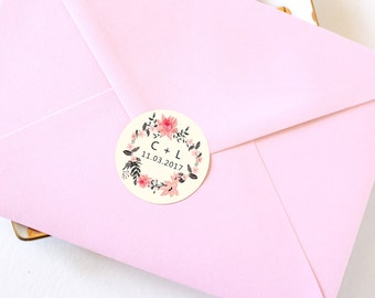 """Wedding Envelope Seals, Circle Stickers, White Stickers, Wedding Favor Stickers, Favour Stickers, """"Ella"""" Collection, Set of 12 Stickers"""