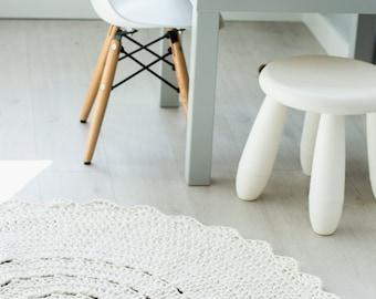 Crocheted round cotton cream rug fi 100cm 40''| crochet rug | ecru rug | scandinavian rug | cream rug | round rug | round carpet | beige rug