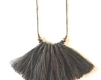 Cotton & Hemp Tassel Necklace, Cotton Tassel Jewelry, Bib Necklace, Bohemian Jewelry, Gift For Her,Jewelry, Handmade Jewelry, Natural Fibres