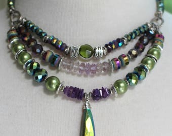 necklace, amethyst necklace, peridot necklace, vesuvianite necklace, green necklace, boho necklace, green necklace, summer trends, purple