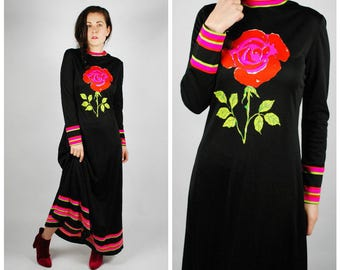 1970's Maxi Dress - 60's Mr. Dino Rose Dress - Boho Psychedelic Dress - Size