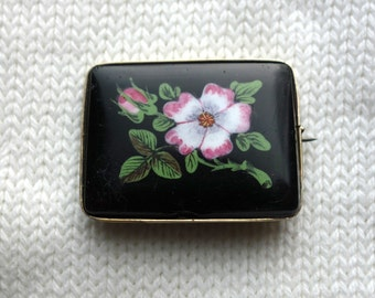 Antique Early Victorian Enamel Rose Pin