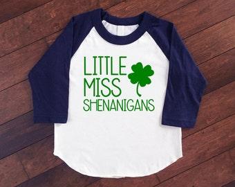 St Patrick's Day Raglan | Little Miss Shenanigans | Girls St Patricks Day Shirt | Girls St Patricks Day Outfit | St Pattys Day Raglan