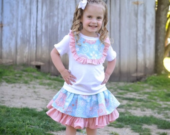 Girls Outfit - Girls Boutique Outfit - Toddler Outfit - Skirt Set - Ruffle Skirt - Shirt/Skirt Set - Boutique Outfit - Ruffle Shirt - Twirly