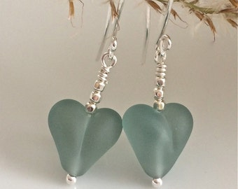 Heart Earrings / Blue Glass Hearts / Lampwork Glass / Light Blue Earrings / Matte Glass Hearts / Sterling Silver Earrings