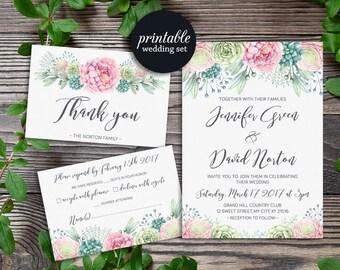 succulent invitation | etsy, Wedding invitations
