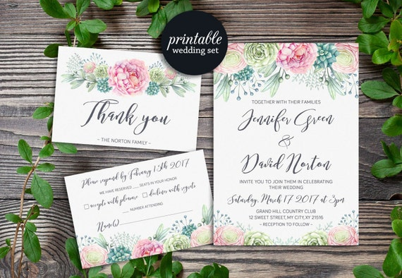 Succulent Wedding Invitation Floral Wedding Invitation Boho