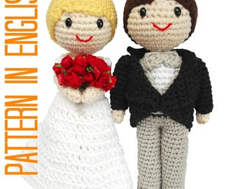 Amigurumi bride and groom. Cake toppers for your wedding (PDF crochet PATTERN in ENGLISH)