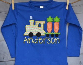 Personalized Easter Train with Carrots Applique Shirt or Onesie Girl or Boy