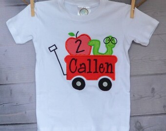 Personalized Wagon with Book Worm Apple Applique Shirt or Onesie Girl