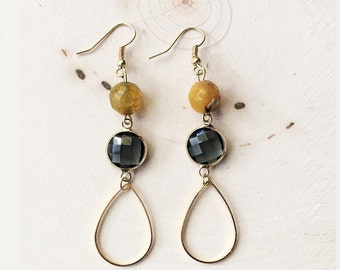 Yellow Agate Earrings//Yellow Agate and Smokey Glass Earrings//Yellow Beaded Earrings