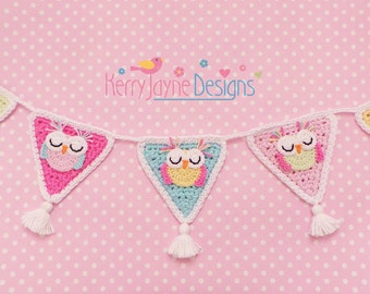 CROCHET APPLIQUE Bunting Garland - Owl crochet pattern - Owl applique pattern - applique Owl pattern - Owl Bunting/ Garland Uk terms No.16
