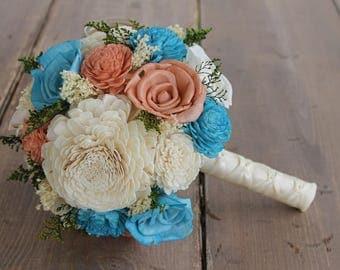 Turquoise & Papaya Sola Flower Bouquet, Turquoise, Papaya, and Cream Wedding Bouquet, Turquoise Sola Bouquet, Peach Sola Bouquet, Dark Peach