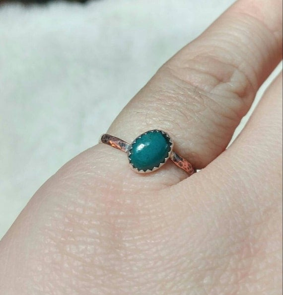 Copper Stone Ring | Chrysocolla Ring | Mixed Metal Ring | Sterling Silver Ring Sz 7.5 | Oval Stone | Natural Chrysocolla Ring | Rustic Ring