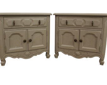 Pair of French Country Carved Gray Chalk Painted Nightstands/End Tables