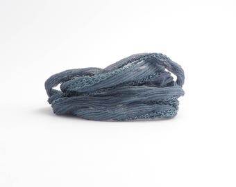 Grey Crinkle Silk Ribbon, Grey Ribbon, Grey Silk Ribbon, Grey Cord, Grey Fairy Ribbon, Grey Bracelet Silk, Gray Ribbon SSR0038