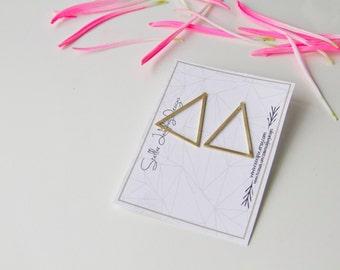 Triangle earrings, Solid Brass, Geometric jewelry, Brass and silver, Retro design, minimal earring, light earrings