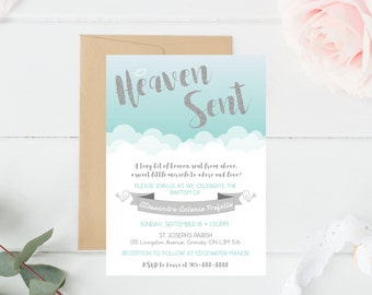 Baptism, Christening, Invitation, Heaven Sent, Angel, Church, Ceremony, Blue, Silver, White, Cloud, Baby Boy, Baby Girl, Sacrament
