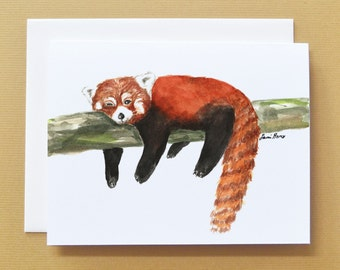Red Panda Watercolor_Blank Card