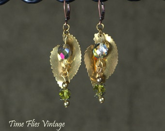 Brass Leaf Earrings, Crystal Earrings, Copper Earrings, Lever Back Hooks,  One-of-a-Kind