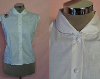 "Sharp 1950s tailored poplin blouse bust 44"" NOS unworn! Larger size"