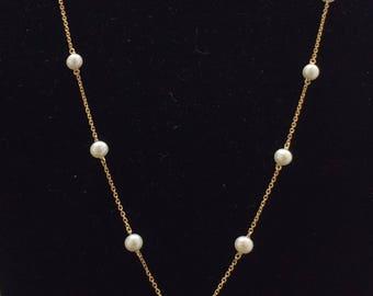 "VINTAGE Stunning 14K Yellow Gold Diamond Pearl Drop 20"" Necklace"