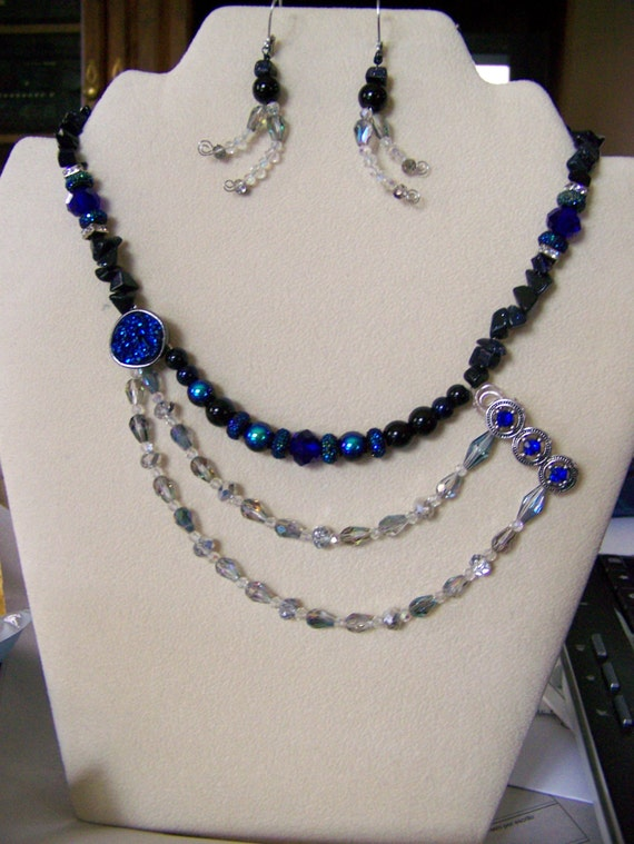 Beaded Necklace Set,Druzy Necklaces,Druzy Jewelry,Blue Necklaces,Black Necklaces,Star Necklace,Multi-strand Necklace,#114