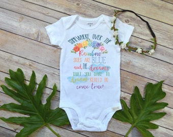 Rainbow Baby shirt, Somewhere Over the Rainbow, Pregnancy Reveal, Rainbow Gift, Pregnancy After Loss, Rainbow Baby Gift, Rainbow bodysuit