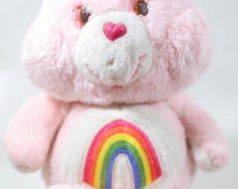 Vintage Kenner Care Bears Cheer Bear, Rainbow Care Bear, Vintage Care Bears, 80s care bear, baby hugs, plush care bear