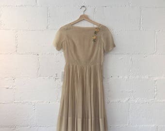 1950s Marta D Sheer Beige Dress // 50s Orange Floral Appliques Sheer Dress // 1950s Vintage Beige Fit and Flare Dress