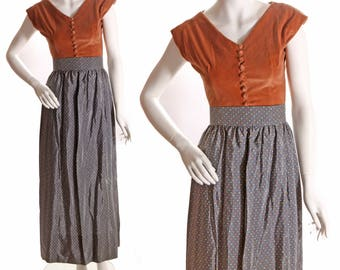 Late 1940s Graphite Gray Taffeta Volup Plus Sized Novelty Print Bug Ankle Length Skirt  -XL