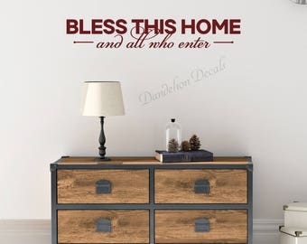 Wall Sticker - Home Decor- Bless This Home and All Who Enter - Vinyl Sticker - Bless This Home - Vinyl Wall Decal - Entry Way Decor