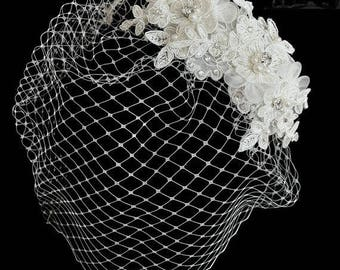Ivory Birdcage Wedding Veil with Alencon Lace, Pearls and Rhinestones