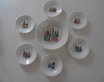 Melitta,Melitta Jupp Ernst,rare Melitta porcelain,bowls set,confectionery bowls,confectionery bowls set,porcelain bowls,dessert bowl