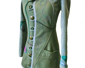 Manteau femme unique Kaki et original Olive T 34/36 (XS)