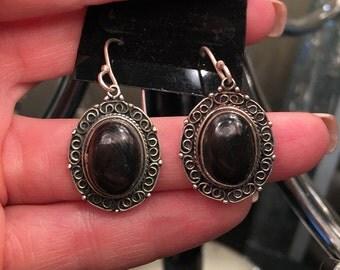 "Psilomelane 1.75"" Earrings, 925 Sterling Silver, Vintage Style"
