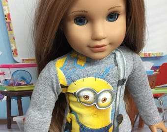 Up-Cycled Minion Shirt for American Girl Dolls or any 18 inch doll
